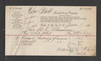 1901 DU BELL { ARTISTIC FURNITURE + UPHOLSTRY Etc } BATH NY ANTIQUE BILLHEAD