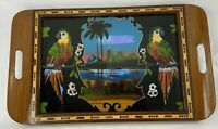 Vintage Brazil Butterfly Parrot Tropical Wood Serving Tray