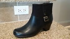 NEW Clarks 7M Black Leather and Suede Ankle Boots w/bronze buckle