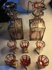 2 carafes et 6 verres cristal taillé XIX°