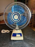 "Vintage Tatung Model LB-12 3 Speed Oscillating 12"" Blue Blade Fan A+ Condition"