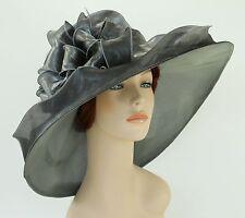 New Church Kentucky Derby Wedding Organza Wide Brim Dress Hat 3546 Silver