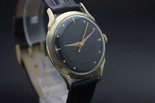 Original Vintage Hamilton Black Dial 10k Gold Filled Leather Mens Wrist Watch L7