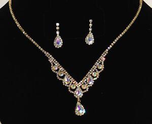 Evening Gold W. AB Crystal Rhinestone Necklace Stud Earrings Set