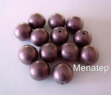 10 10mm Czech Glass Round Beads: Metallic Suede - Pink