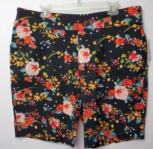 Pioneer Woman Size XXL Black Multi Color Floral Stretch Shorts