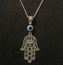 "Hamsa Hand Necklace 24"" Hand of Fatima Spiritual Yoga Buddha Evil Eye Pendant"