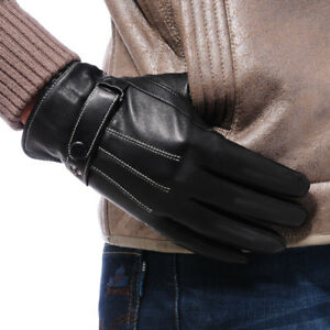 Men's Black Genuine Sheep Leather Wrist Gloves Touch Screen Driving Gloves F006