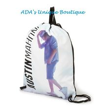 Austin Mahone Drawstring White Gym Bag Backpack Bag Book Sack Bookbag NWT