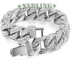 14MM Miami Cuban Link ICED Bracelet Hip Hop Mens Jewelry 14k White Gold Plated