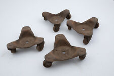 Set of 4 Floating Dolly Casters 3 Wheels Ea Pressed Steel Antique Hardware (C5R)