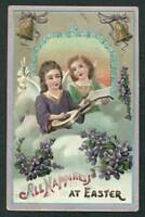 VINTAGE EASTER EMBOSSED POSTCARD TWO YOUNG GIRLS ONE PLAYING MANDOLIN
