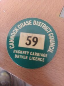 Cannock Chase District Council Hackney Carriage Driver License Pin Badge