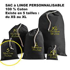 SAC à LINGE NOIR a personnaliser vêtements enfants crèche Taille S Petit modèle