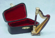 Xmas Dollhouse Miniature Music  1:12 Scale Small Harp with case Set #Z206