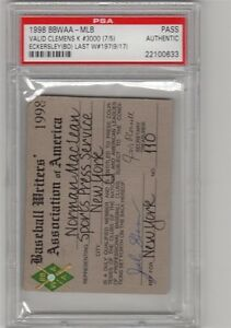 1998 Dennis Eckersley Last Win/PSA Ticket Pass/ Roger Clemens 3000 K Boston