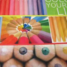 Stoff Meterware Fotodruck Stifte Buntstifte Kreide bunt Dekostoff Malstifte