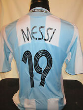 MESSI # 19 ARGENTINA 2008-2009 HOME FOOTBALL SHIRT ADULTO di grandi dimensioni (31931)