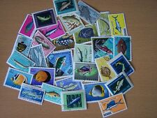 30 DIFFERENT FISH THEME STAMPS,(PACK NO 1.),EXCELLENT.