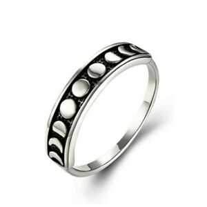 Vintage 925 Silver Moon Phase Ring for Women Men