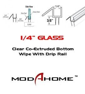 "1/4"" Frameless Shower Door Sweep  Bottom Seal  Wipe  Drip Rail - FREE CUSTOM CUT"