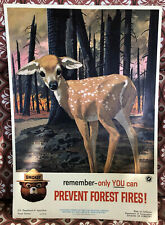Smokey The Bear Prevent Forest Fires Poster 1961 Deer Nice Condition! Bambi