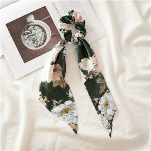 Floral Triangle Streamers Hair Scrunchies Bow Satin Long Ponytail Hair Ties Rope