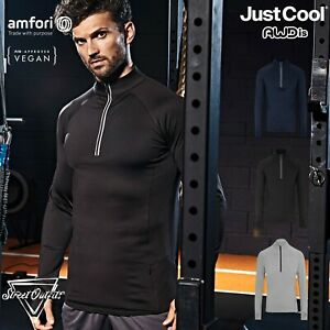 Mens Long Sleeve 1/2 Zip Top AWDis Cool Polyester Gym Cycling Workout Training