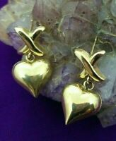 10K SOLID YELLOW GOLD EARRINGS 💖X for Kiss & Heart 💖 ESTATE 💖 NOT SCRAP