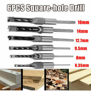 6Pcs Mortice  Hole Saw Auger Drill Bit Set Mortising Chisel Woodworking uk