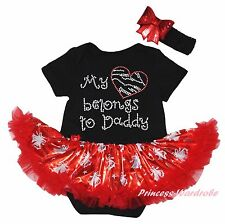 My Heart Belongs To Daddy Black Bodysuit Red Bling Ring Bell Baby Dress NB-18M