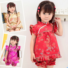 Girls Floral Tang Suit Top Shorts 2Pcs Baby Kids Chinese Style Qipao Sets Wuqi1