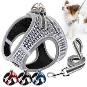 Reflective Pet Dog Harness and Lead Leash Soft Mesh Puppy Cat Walking Vest XS-XL