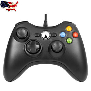 Black USB Wired Dual Shock Gamepad Game Controllers for Microsoft Xbox 360 / PC
