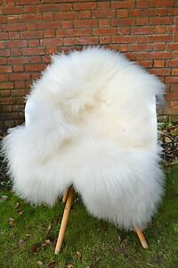 Pure White Icelandic Sheepskin Rug 100% Natural Not Dyed long haired very soft