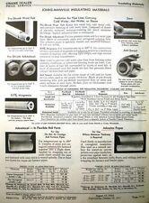 CRANE J-M Pipe Covering Insulation Materials ASBESTOS Cement 85% Magnesia 1953