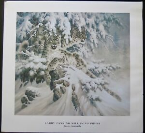 """Larry fanning snow leopard poster art print LARGE 30"""" x 28"""" approximately"""