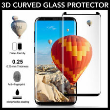 For Samsung Galaxy S8 Case Friendly Tempered Glass Screen Protector Black DH