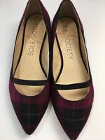 Sole Society Zayna Flat Women's Size 8.5 M Red Plaid GUC Ballet Point 3341