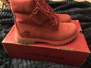 Limited Edition Red Timberland Boots, Size 7, RARE, L@@K!