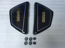 SUZUKI GN GN125 BLACK SIDE PANEL PANELS left right PAIR + Rubbers