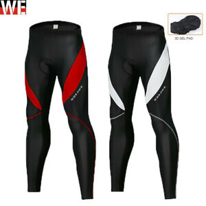 Mens Compression Cycling Tights Mountain Bike Long Trouser Padded BMX Pants