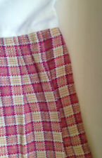 Pleated Pink and Cream Check skirt attached to vest top  Vintage 1980s
