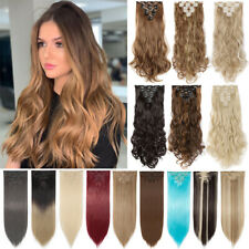 CLEARANCE! AU Clip in 100% Real Natural as Human Hair Extensions 8 Pcs Long Wavy