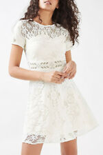 Topshop Cream White Short Sleeve Floral Lace Dress NWT US 8 Fit Flare Party Chic
