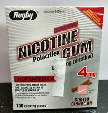 - Rugby Nicotine Gum 4mg Coated Cinnamon - 1 Box/100 Pieces