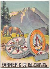 Vintage 'Farner & Co' Cheese Advertising Booklet - Swiss Gruyere Without Crust