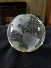 Heavy Glass Clear World Earth Globe Etched Crystal World Paperweight
