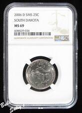 2006 D SMS/Satin Finish Statehood Quarter <> NGC MS 69 Top Pop <> South Dakota