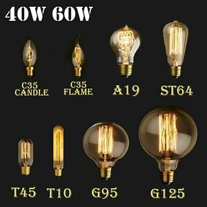 E27 E14 Screw 40W 60W Vintage Antique Retro Light Filament Edison Lamp Bulb UK